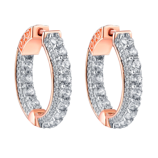 Hoop Earrings Iced Out Simulated Diamonds 14k Rose Finish Sterling Silver