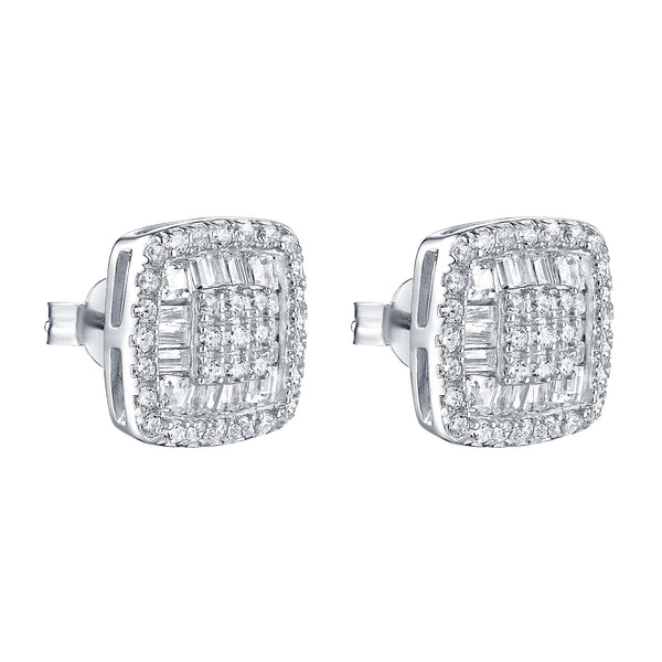Square Earrings Baguette Cut White Gold Finish 925 Silver