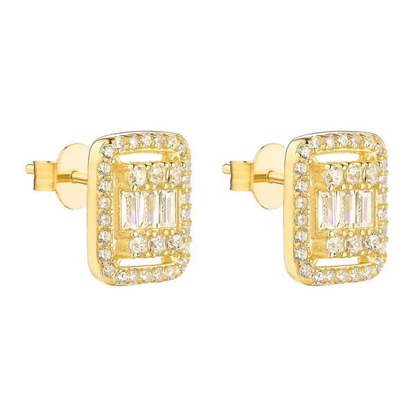 Baguette Earrings Simulated Diamonds Yellow Sterling Silver
