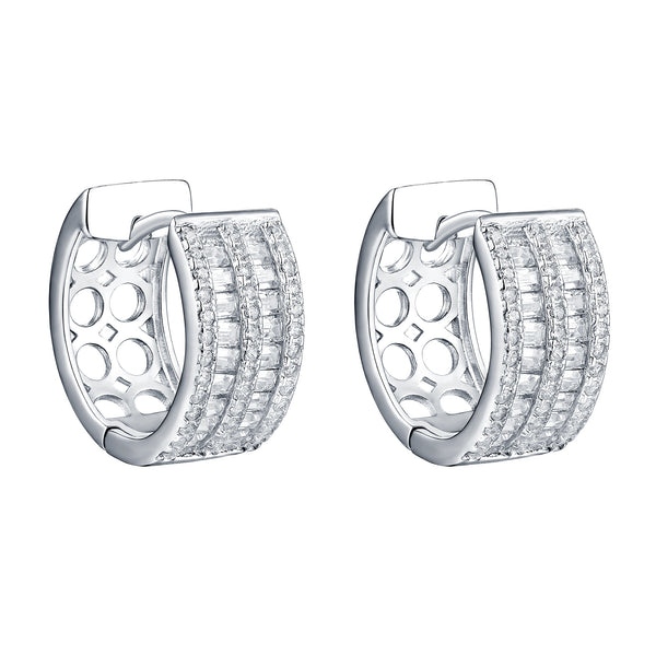 Hoop Earrings Baguette Simulated Diamonds Sterling Silver Sale