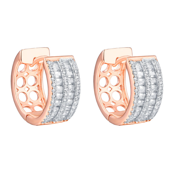 Hoop Earrings Baguette Simulated Diamonds Rose Sterling Silver