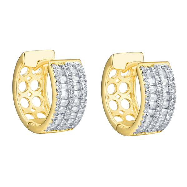Hoop Earrings Ladies Baguette Simulated Diamonds 925 Silver