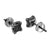 Black Simulated Diamond Earrings Screw Back Square Design Screw Back