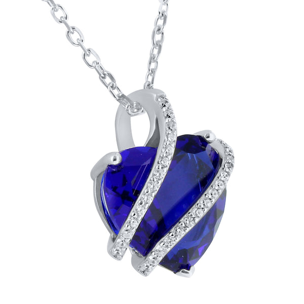 September Birthstone Ladies Real Silver Sappire Lab Diamond Heart Charm Set