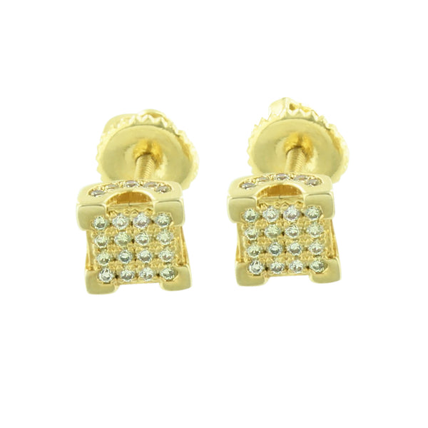 Square Canary Earrings Mens Womens Simulated Diamond Screw Back