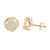 Rose Gold Tone Earrings Screw Back Pave Set Simulated Diamonds