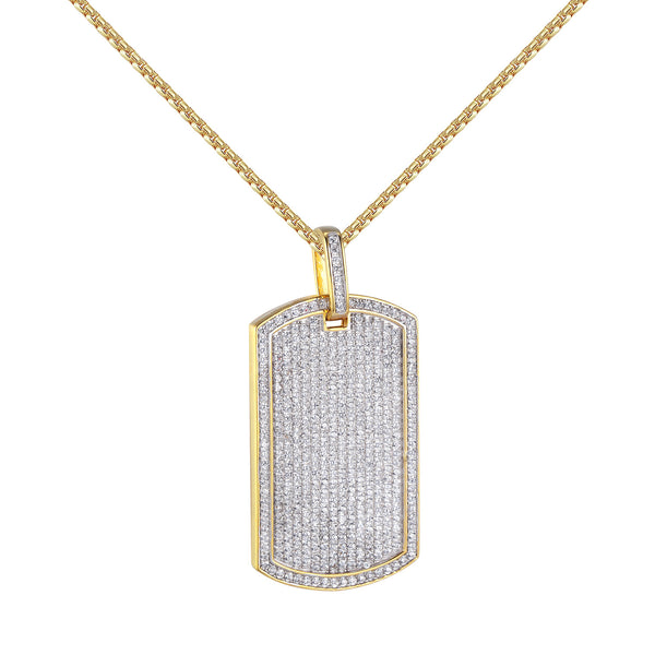 14k Gold Finish Dog Tag Pendant Sterling Silver Lab Diamonds 24 Inch Necklace