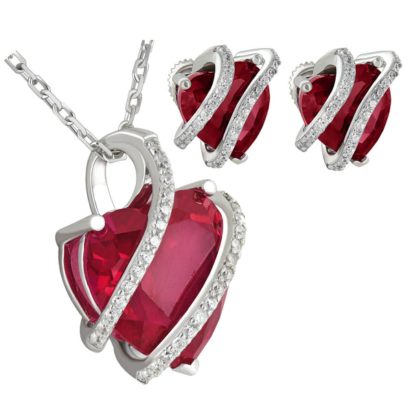 Jan Birthstone Womens Garnet Solitarie Heart Sterling Silver Earrings Pendant Set Iced Out 17