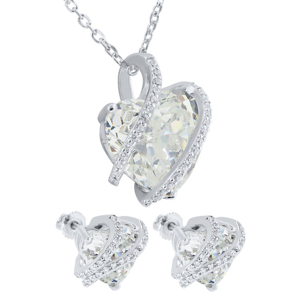 April Birthstone Womens Diamond Solitarie Heart Sterling Silver Earrings Pendant Set Iced Out 17