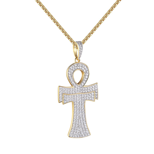 Ankh Cross Pendant 14k Gold Over Sterling Silver Lab Diamonds 24 Inch Free Chain