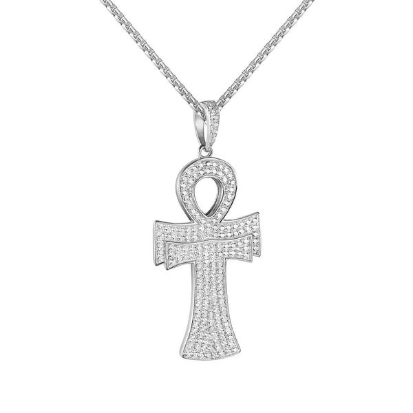 Sterling Silver Ankh Cross Pendant Iced Out 1.9
