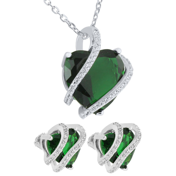 May Birthstone Womens Emerald Solitaire Heart Earrings Pendant Set
