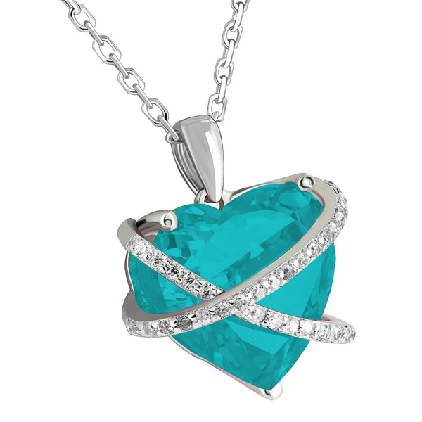 March Birthstone Ladies Real Silver Aquamarine Simulated Diamond Heart Charm Set