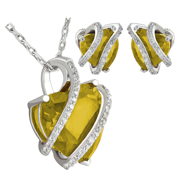 November Birthstone Womens Topaz Solitarie Heart Sterling Silver Earrings Pendant Set Iced Out 17