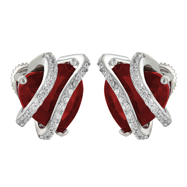 July Birthstone Women Ruby Solitaire Heart Earrings White Gold Finish Over 925