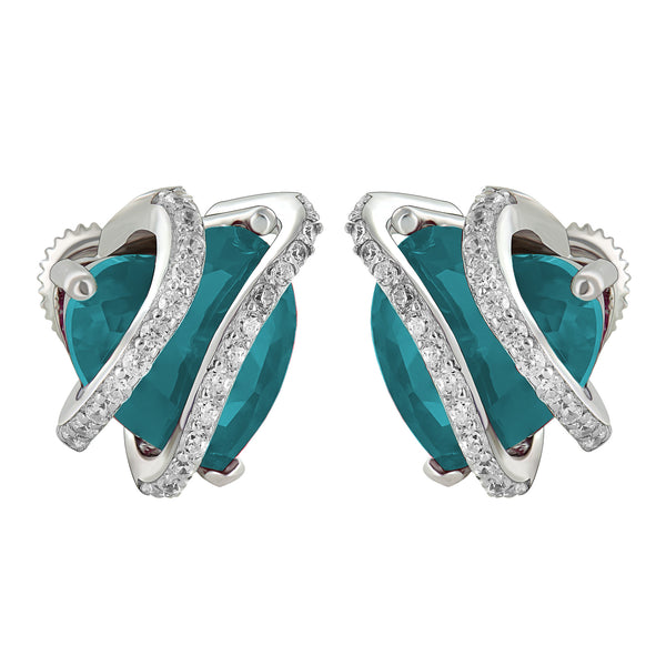 March Birthstone Womens Aquamarine Solitaire Heart Earrings White Gold Finish Over 925
