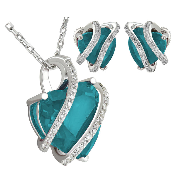 March Birthstone Aquamarine Solitaire Heart Silver Earrings Pendant Set