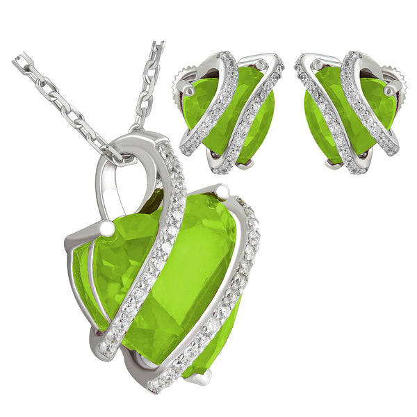 August Birthstone Peridot Solitaire Heart  Earrings Pendant Set