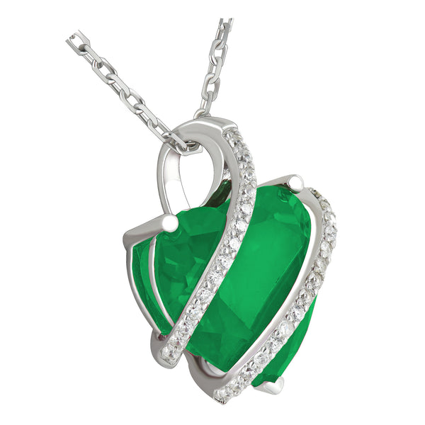May Birthstone Ladies Real Silver Emerald Simulated Diamond Heart Charm Set