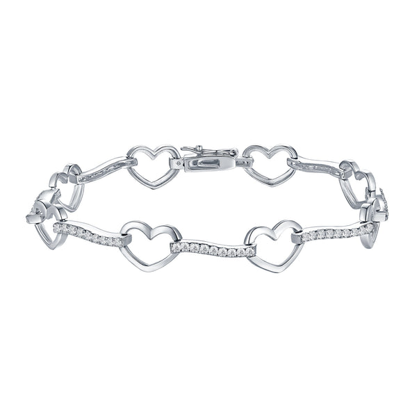 Womens Heart Link Bracelet Rhodium Plated Simulated Diamonds Designer Ladies New
