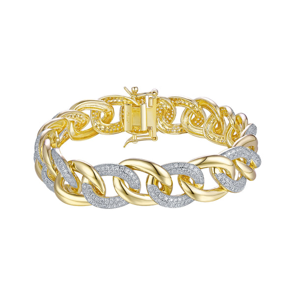 Gold Finish Miami Cuban Bracelet Simulated Diamonds Ladies Designer Elegant Sale