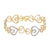 Womens Heart Design Bracelet Yellow Gold Plated Simulated Diamonds Brand New