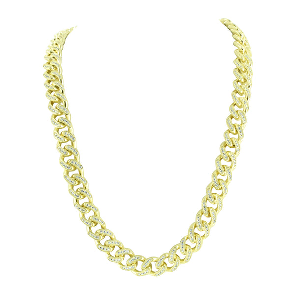 Miami Cuban Necklace Sterling Silver Gold Finish Simulated Diamonds