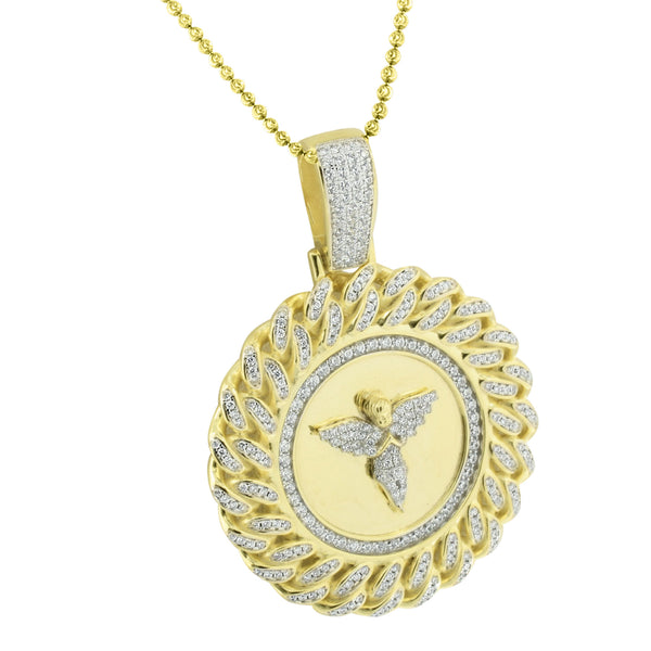 Miami Cuban Angel Pendant Sterling Silver Necklace set