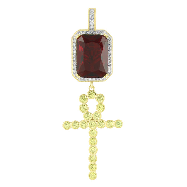 Unique Ruby With Dangling Cross Pendant Gold Over Sterling Silver Lab Created Diamonds