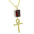 Cross Ruby Pendant Chain Set Gold Over Sterling Silver
