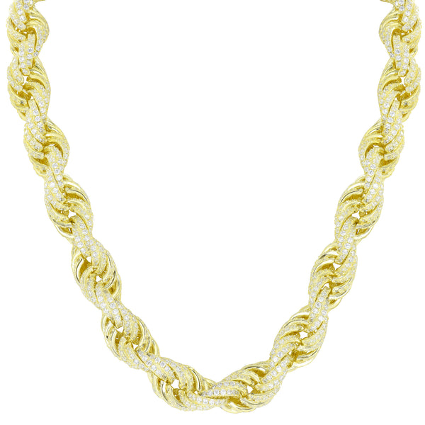 Iced Out Rope Necklace Sterling Silver 14K Gold Finish 11mm Custom Mens