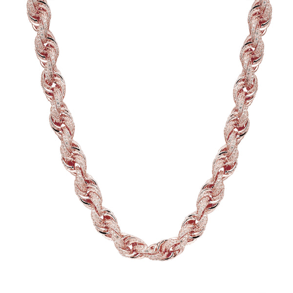 Sterling Silver Iced Out Rope Necklace 14k Rose Gold Finish
