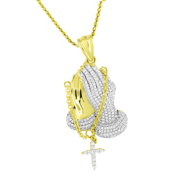 Praying Hands Rosary Pendant Moon Cut Necklace 14k Gold Tone 925 Silver Lab Diamonds