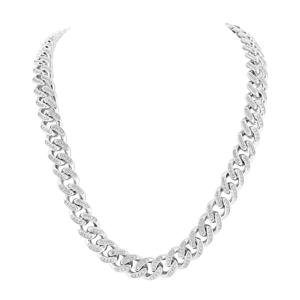 White Miami Cuban Chain Simulated Diamonds 925 Sterling Silver