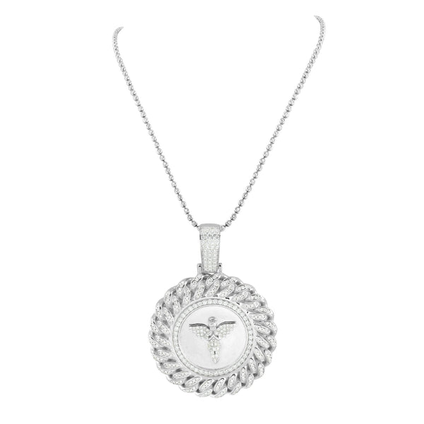 Sterling Silver Angel Pendant Miami Cuban  Chain Set