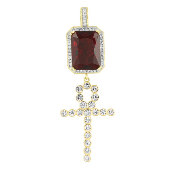 New Garnet Ruby Cross Pendant Lab Created Diamond Gold Over Sterling Silver