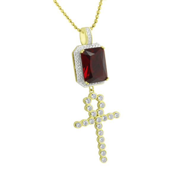Ruby Cross Design Pendant Moon Chain Gold Over Sterling Silver
