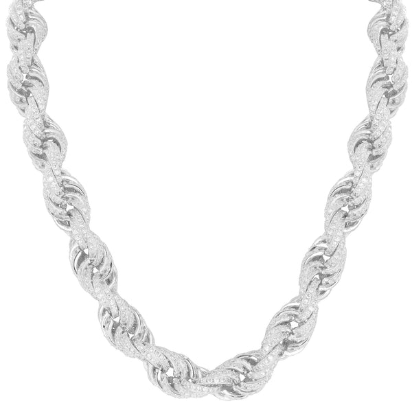 Rope Necklace Sterling 925 Silver Iced Out Simulated Diamonds 30