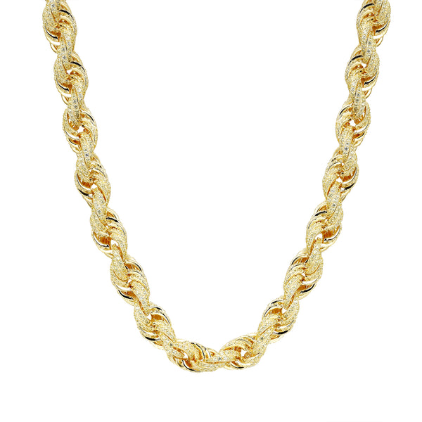 Iced Out Rope Chain 14k Gold Finish Sterling Silver ...