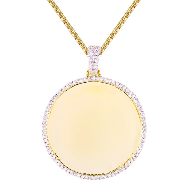 One Row Solitaire Circle Gold Tone Photo Picture Pendant