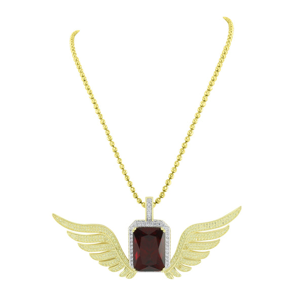 Ruby With Wings Pendant Moon Chain Gold On Sterling Silver