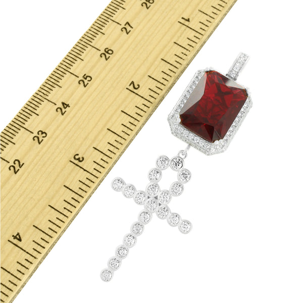 925 Silver Cross Garnet Ruby Pendant Lab Create Diamond