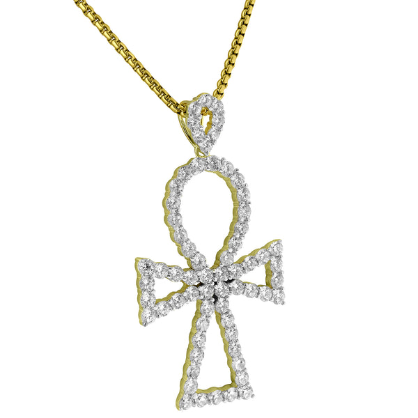 Ankh Cross Pendant 14k Gold Finish Lab Diamonds Solitaires Sterling Silver Chain
