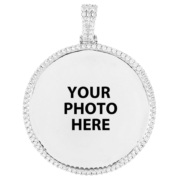 One Row Icy Circle Picture Memory Gift Photo Pendant Chain