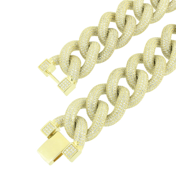 Gold Miami Cuban Necklace Thick 22 MM Sterling Silver 32 inch