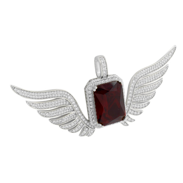 Red Ruby Angel Wings Pendant