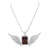 Garnet Ruby Pendant Angel Wing White Gold On 925 Silver
