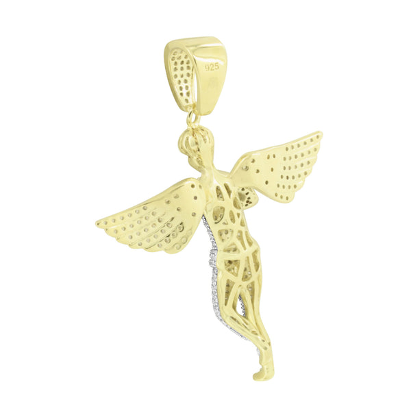 Sterling Silver Praying Angel Pendant Gold Finish