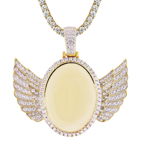 Custom Picture Memory Frame Oval Angel Wings SIlver Pendant