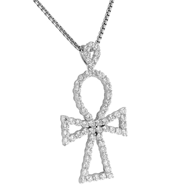 Solitaire Ankh Cross Pendant 2.4 Inch Lab Diamonds 925 Sterling Silver 24 Inch Chain